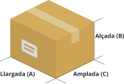 Dibuix de les mesures d'una caixa