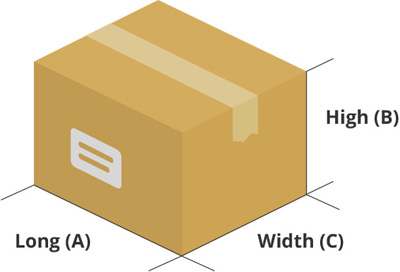 Drawing of a box sizes