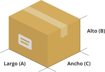 Dibujo de las medidas de una caja