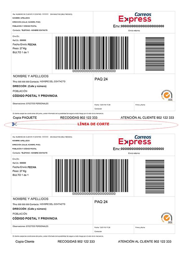 Etiqueta Correos Express